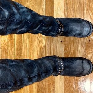 FREE PEOPLE knee high distressed motorcycle boots